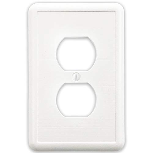 Linen Textured Single Duplex Outlet Cover Plate White