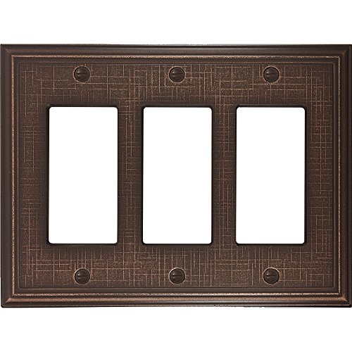 Linen Textured Triple Decorator Switch Plate Cover Oil Rubbed Bronze